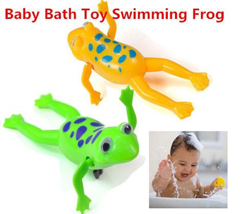 Funny Baby Kids Bath Toy Clockwork Wind Up Plastic Swimming Frog Battery Operated Pool Bath for Kids & Baby lq new Игрушки Для Купания