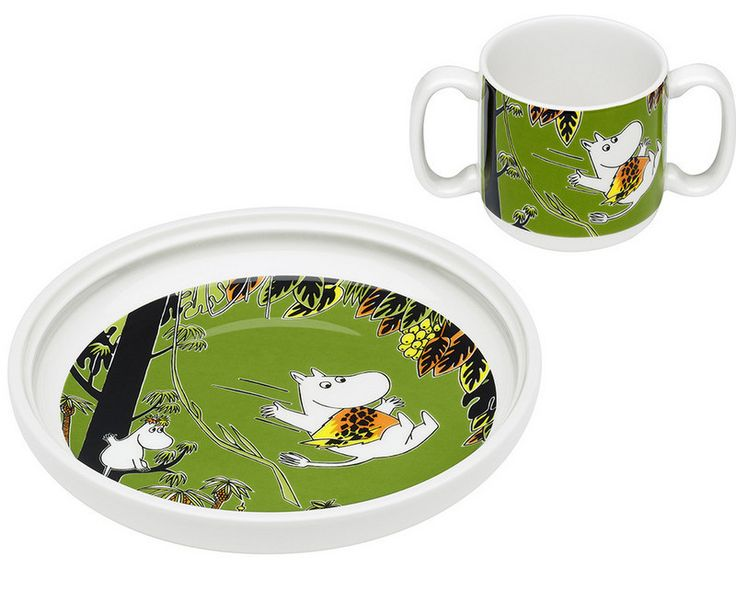 Moomin double-handled cup and plate