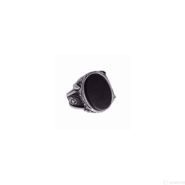 Αντρικό δαχτυλίδι με οβάλ όνυχα σε Μασιφ Ασήμι