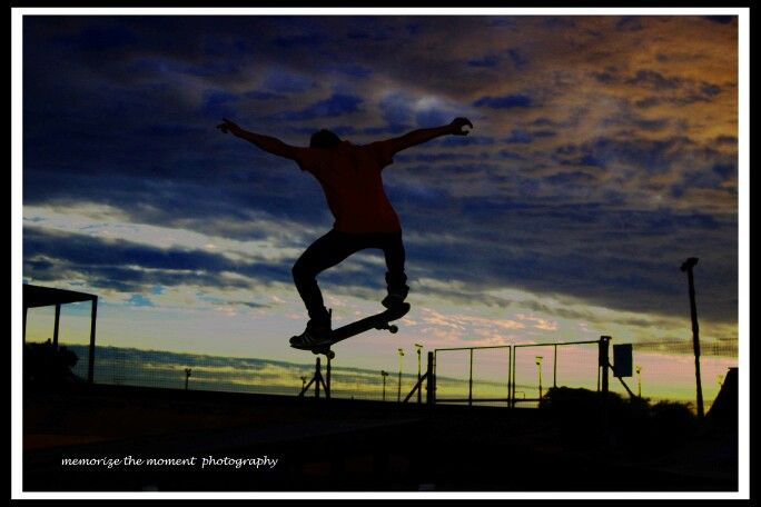 Skateboarder, sunset, silhouette,  ramp, air , clouds