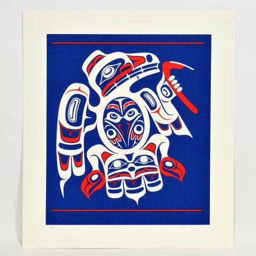 "1990 Don Yeomans Raven's Visit Ltd Edition Silkscreen Print 20"" x 17"" Signed Northwest Coast Haida Art"