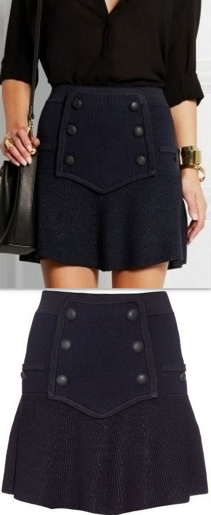 Cashmere & Wool Blend Knit Skirt With Buttons, Dark Navy Blue