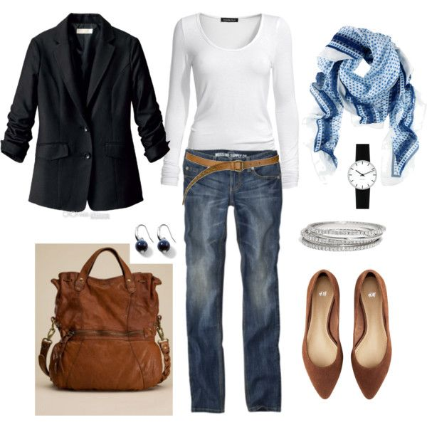 Classic Casual Outfit, Cute Outfits, Classic Clothing Style, Wear Today, Casual Fridays, Blue Scarf, Casual Classic Style, My Style, Black Blazers