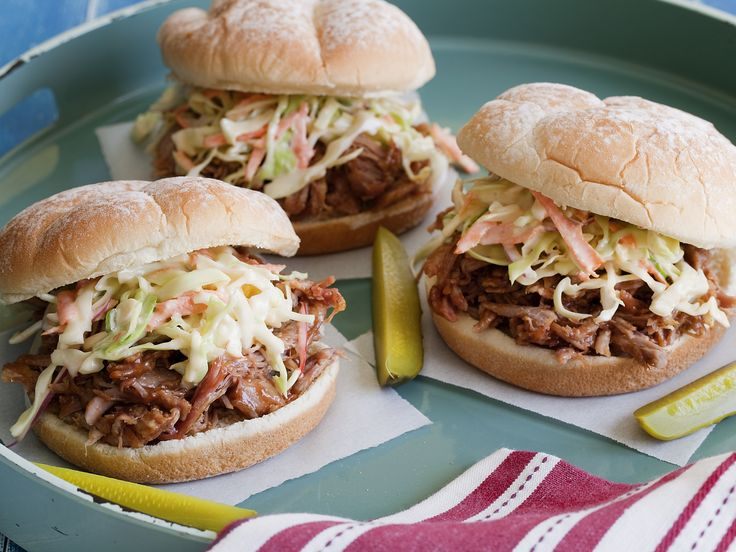 Tyler's Pulled Pork Barbecue : Tyler seasons a pork roast with spicy-sweet dry rub, roasts it low and slow until it's falling apart and then serves with a tangy cider vinegar barbecue sauce. via Food Network