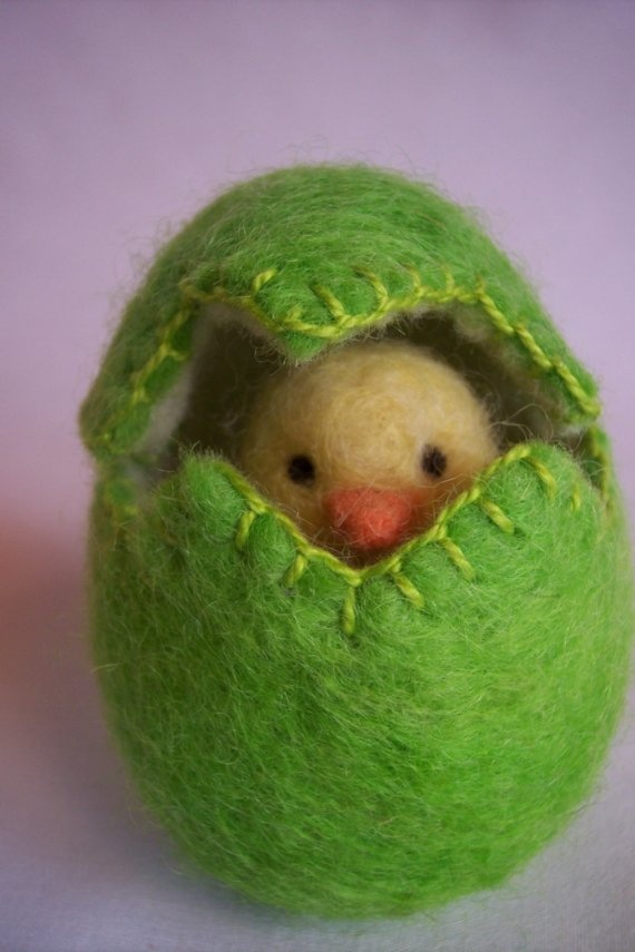 Felted wool Easter egg with Chick shamrock waldorf by newtknees, $20.00