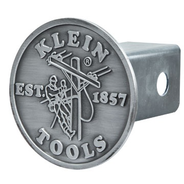 """Trailer Hitch Cover (96767) – New!  A great new way for the ultimate Klein Tools fan to show off their pride!  This pewter-alloy Trailer Hitch Cover features the classic Klein Tools Lineman Logo design. Fits standard 2"""" hitch receivers."""