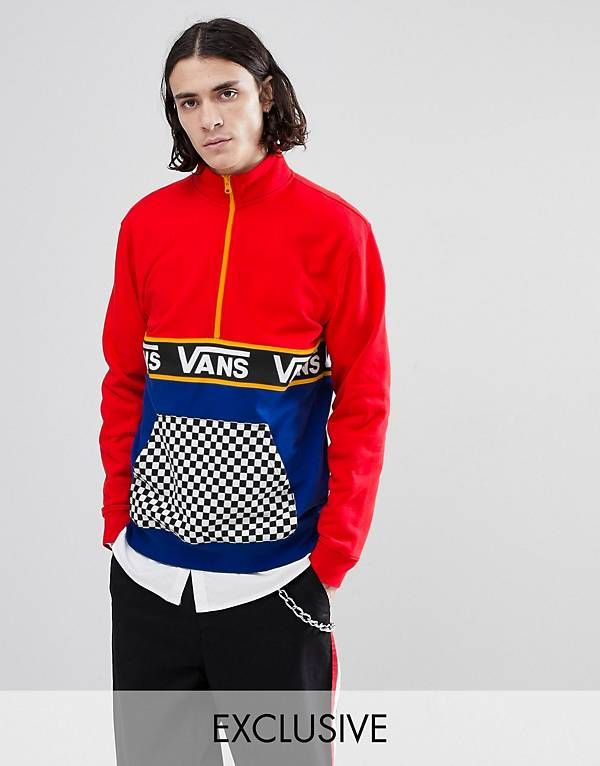 59015adcc3e Vans Half Zip Sweat In Color Block With Checkerboard Pocket In Red  Exclusive To ASOS