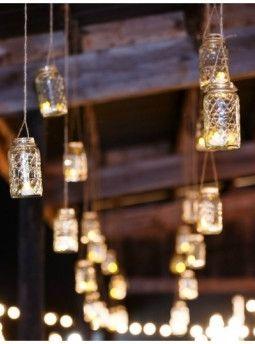 Hanging mason jar lighting.