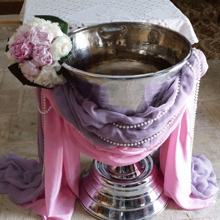 κολυμπήθρα στολισμος pink and purple theme with flowers by gouriotiflowers - christening