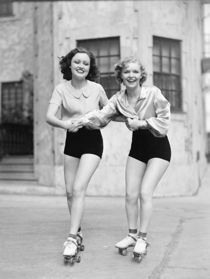 1930 | Two Girls in Their High Waisted Shorts on Roller Skates
