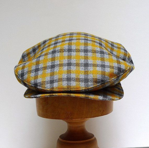 Men's  Driving Cap in Mustard and Gray Plaid by HatsWithAPast, $75.00
