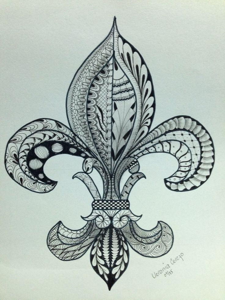 Flor de Lis, zentangle