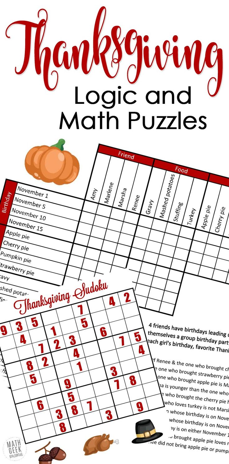 Looking for a fun, yet challenging set of puzzles this Thanksgiving? How about this set of Thanksgiving math puzzles? Includes a fun grid puzzle plus 2 Thanksgiving themed sudoku puzzles PLUS answer keys for all pages! http://mathgeekmama.com/thanksgiving-math-puzzles/?utm_campaign=coschedule&utm_source=pinterest&utm_medium=Bethany%20%7C%20Math%20Geek%20Mama&utm_content=Fun%20Thanksgiving%20Math%20and%20Logic%20Puzzles%20%7BFREE%7D