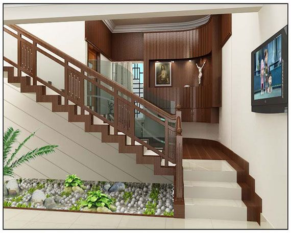 Staircase near to prayer room architects in kerala for Kerala house interior painting photos