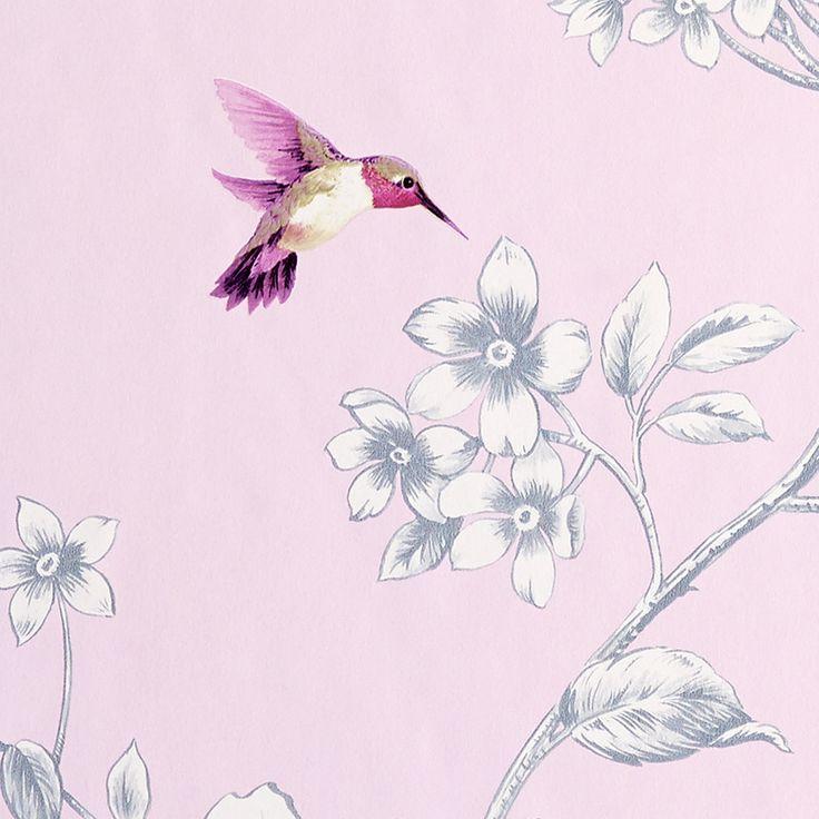 Papier peint HUMMINGBIRD coloris rose aquarelle - Papier Peint - 4murs