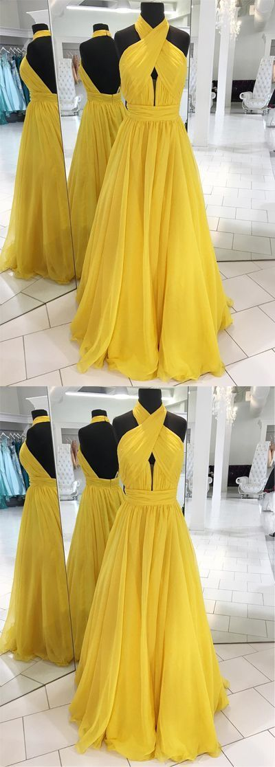 Simple yellow chiffon prom dress