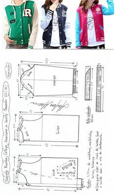 Jaqueta bomber, college, americana ou varsity feminina. Esta jaqueta recebe vários nomes dependendo da localização. Fiz esquemas de modelagem do PP ao EXGG. Publicado em 30/05/2016 por marleneglaumar2002 em modelagem.