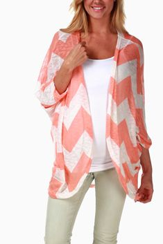 Peach White Chevron Knit Maternity Cardigan