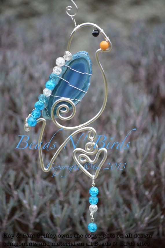 Sun Catchers, Beautiful Agate Stone Parrot, Glass Sun Catcher, Bird Wire Suncatcher