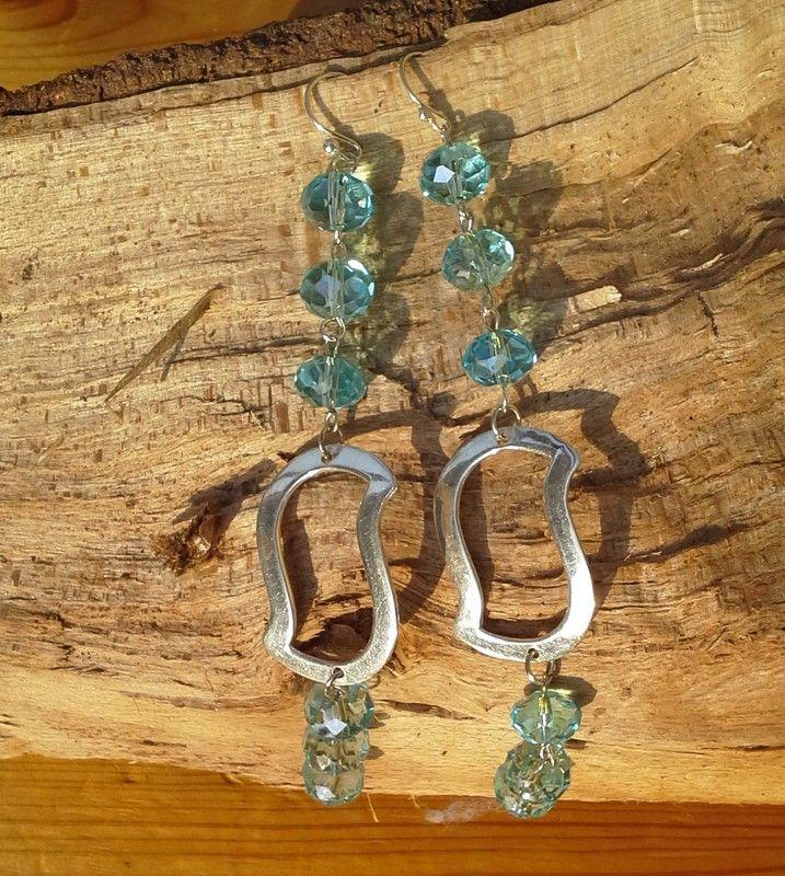 earrings in silver 925 and blue topaz  orecchini in  argernto  925 e topazio
