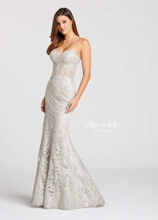 Style EW118065 from Ellie Wilde for Mon Cheri is a strapless sweetheart neck Metallic Lace and Tulle long trumpet Prom gown.