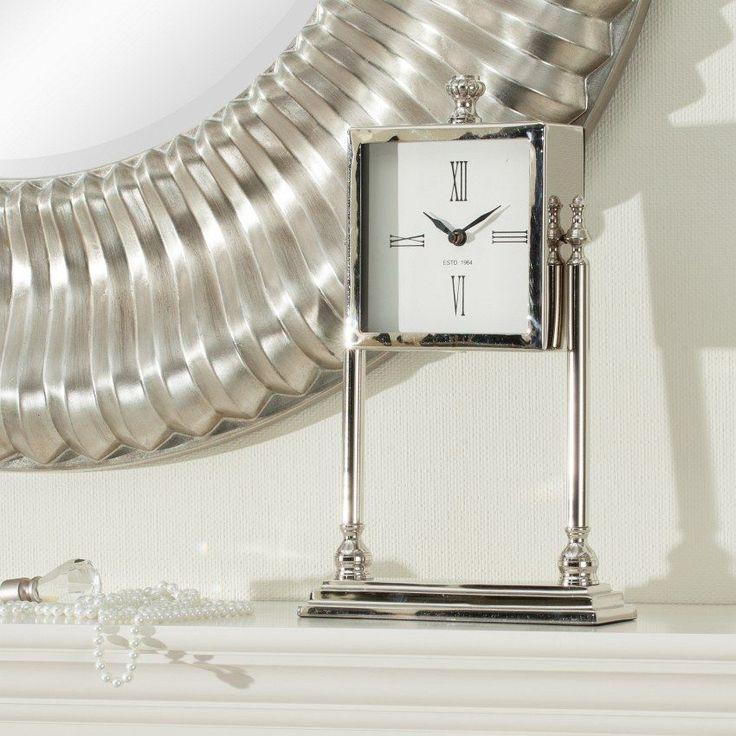 Zegar Simon kominkowy 23x6x37cm metal, 23x6x37cm - Dekoria