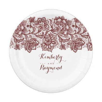 Burgundy Red Lace Elegant Wedding Paper Plate - vintage wedding gifts ideas personalize diy unique style