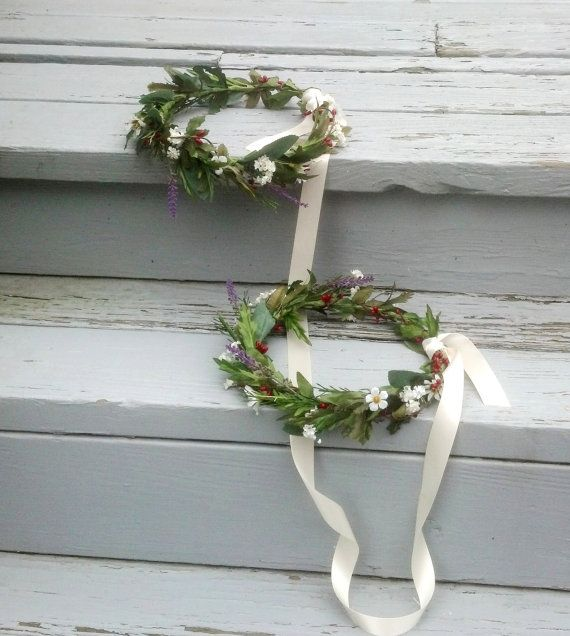 Rustic chic, Woodland style Stefana double crowns! These are joined together with a long white ribbon for Greek orthodox wedding marriage ceremonies! I used a variety of silk, artificial leafy greenery, preserved babys breath, vanilla or *red pip berries and just a touch of muted artificial lavender. *This one is shown with red and lavender accents, but you may request any color accents, including all neutrals, ivory whites. My custom flower crown is *made to Order on a natural moss green…