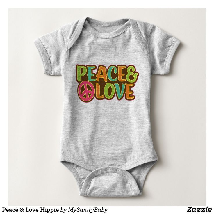 Peace & Love Hippie Baby Clothes - Funky baby bodysuit inspired in the seventies in all it's glory! A super cool peace and love typography of Peace and Love and the peace and love sign.