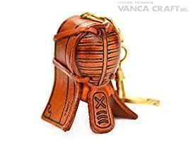 剣道面 本革製 立体キーホルダー VANCA CRAFT 革物語 (日本製 ハンドメイド)