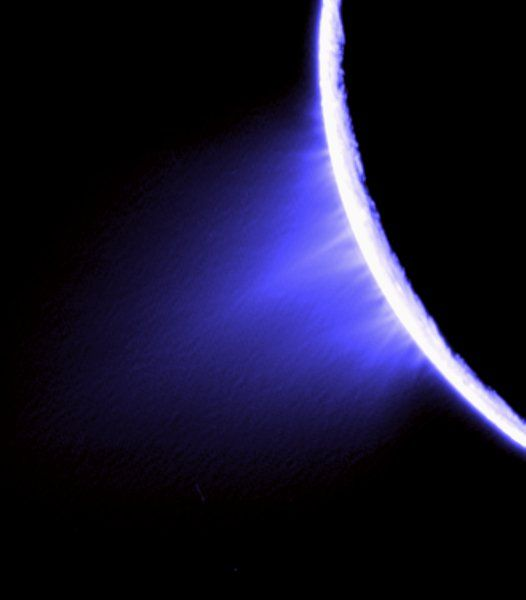 Enceladus Jets: The icy surface of Saturn's moon Enceladus spurts ice particles, water vapor, and trace organic molecules into space. Intriguing to astrobiologists.