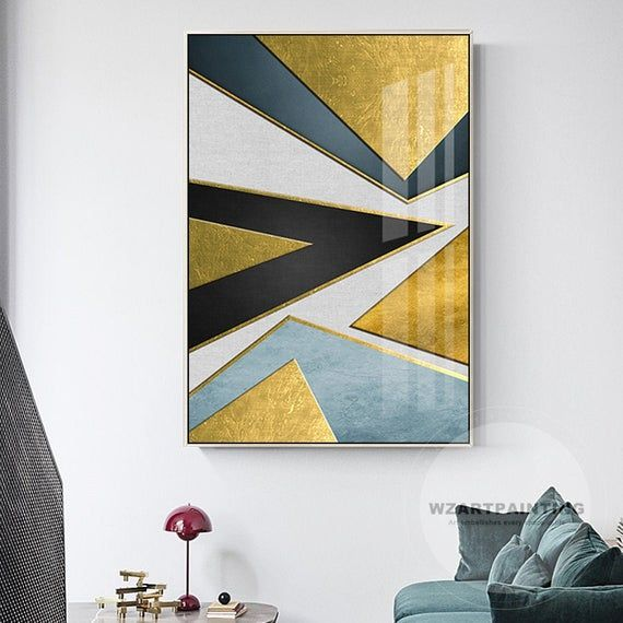 Modern Geometric Abstract Gold Blue Black Triangle Print Painting Prints On Canvas Luxury Wall Art Pic Canvas Painting Abstract Canvas Painting Abstract Canvas