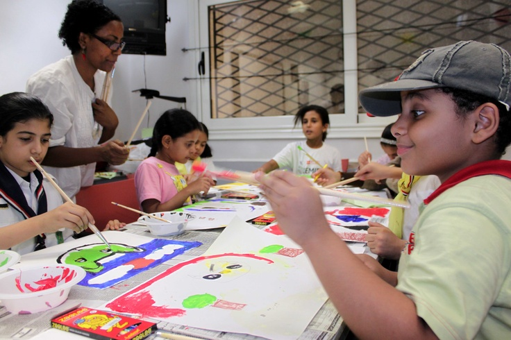 Dancing Hares workshop in British Council #art #kids #painting