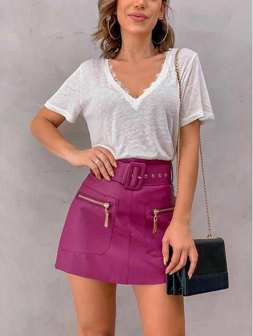 Saia Com Cinto Couro Eco Roxo | Saias in 2019 | Fashion, Mini skirts, Cotton skirt