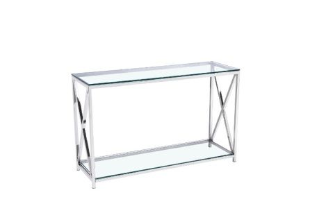 The Elsa Console Table is made of tempered glass top with stainless steel frame.  Size: 120x30x78 cm  (47.3x11.8x30.7 inches)   Contact us for pricing.