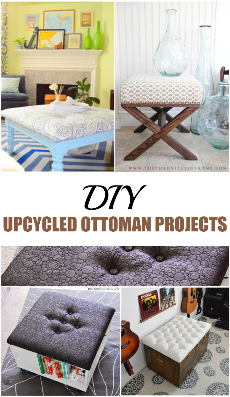 DIY Upcycled Ottoman Projects. DIY ottoman designs, projects and tutorials.