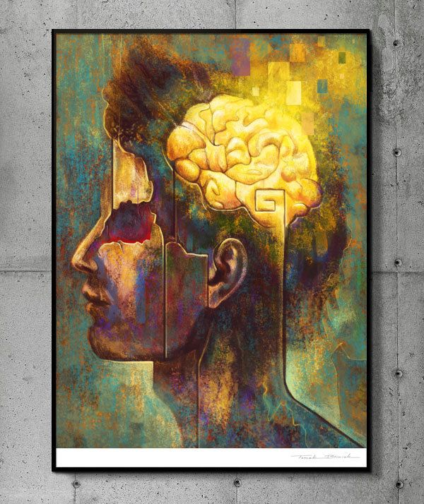 The Brain - llustration art giclée print signed by the artist. A2 poster. Tomek Biniek. by TomekBiniek on Etsy