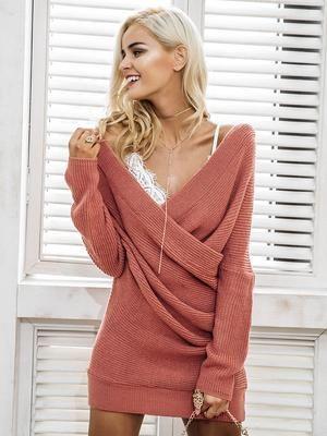 V Neck Knitted Dress