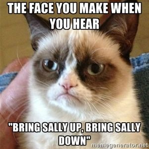 "The face you make when you hear  ""Bring Sally Up, Bring Sally Down""  