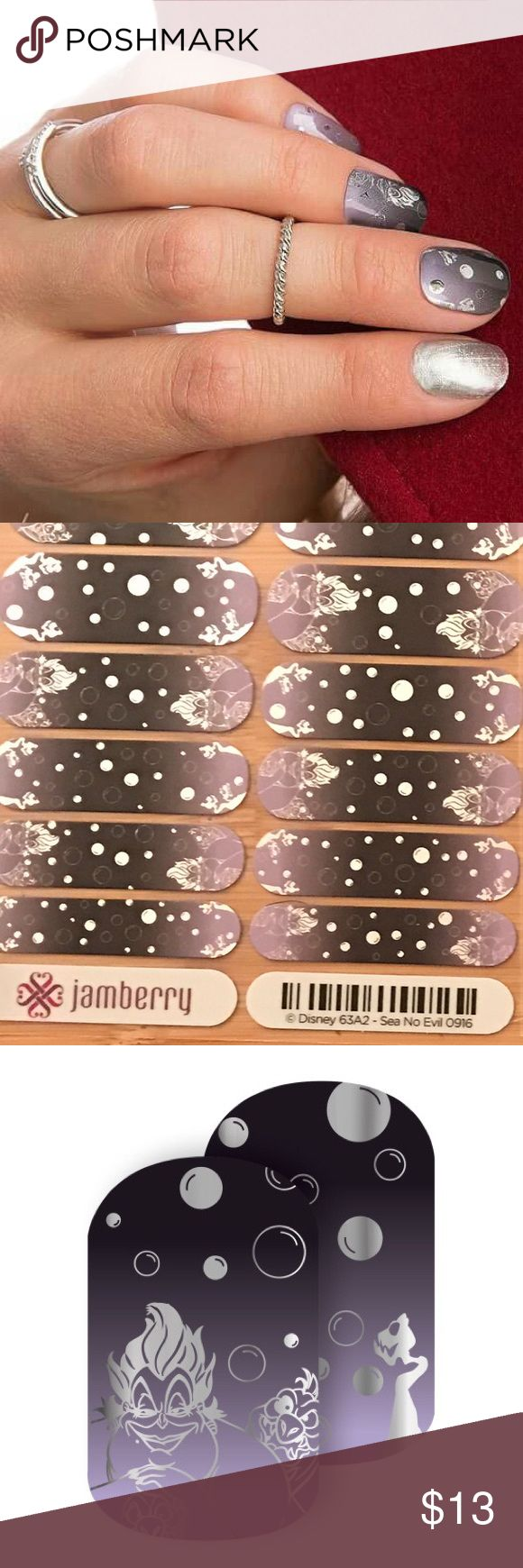 Jamberry Disney Villains Ursula Sea No Evil Full Jamberry Disney Villains Ursula Sea No Evil Full Sheet, From The Little Mermaid, these metallic purple wraps are made with beautiful silver hue and purple, bubbles and print of Ursula. This is a whole Sheet. 10% off of 2 or more items - these are perfect for bundles! Disney Accessories
