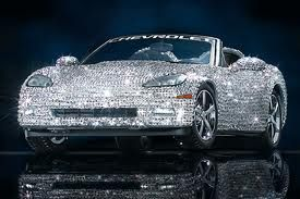 "Swarovski Corvette. Of course, my ADD brain immediately jumps to ""OMG, how blinded by the sun would everyone around you be!"" Accident bait for sure."