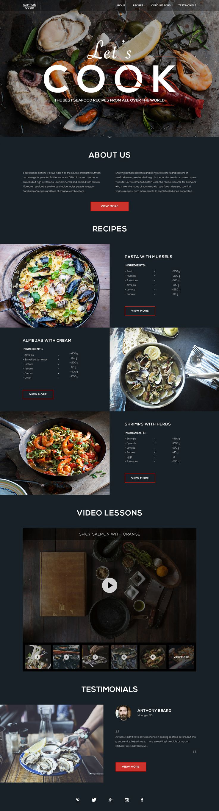 Seafood Recipes Landing Page – SiteUp