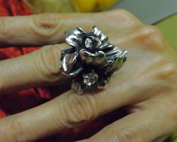 Herkimer Diamond Chunky Branch Ring Sterling by BonTonContemporary