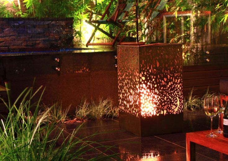 Portable Outdoor Fire Pit Australia : EcoSmart Fire Lantern fireplace installation by Eco Outdoor, Australia