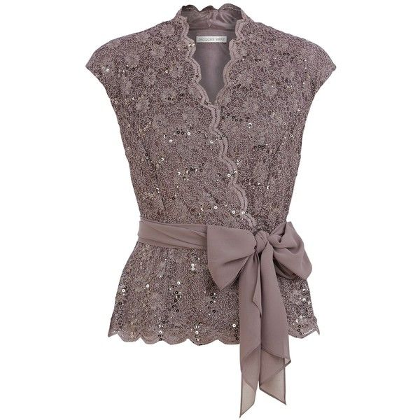 Jacques Vert Sequin & Lace Crossover Top, Brown found on Polyvore featuring polyvore, women's fashion, clothing, tops, blouses, shirts, brown blouse, lace blouse, v neck blouse and cap sleeve blouses