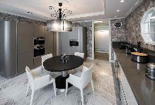 #Angular #model with doors in white lacquered metallized Nordic and worktop in quartz stone gray Goby.