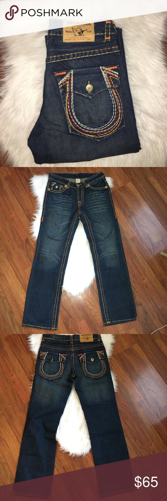 """MENS True Religion jeans size 34 These unique True religions have orange and yellow stitching. Worn very minimally, look and feel new. Waist size 34"""", inseam is about 32"""", and leg pant width is about 9 1/2"""" True Religion Jeans Straight"""