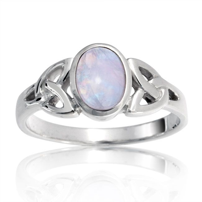 925 Sterling Silver Celtic Triquetra Moonstone Knot Ring ...