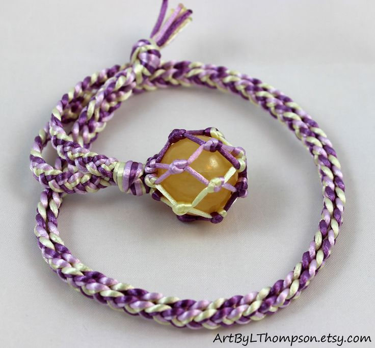 Original art by L. Thompson Yellow Calcite Crystal Ball Satin Cord Wrapped Healing Necklace - 6 Pointed Star