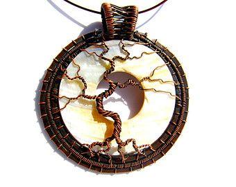 """Antigua colgante árbol de la vida cobre, alambre de cobre antiguo tejido frontera con madre de perla Base - 3 """"x 3.5"""" - cable incluido"""